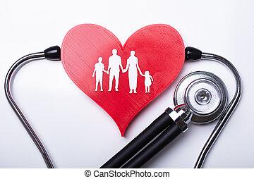 stéthoscope, examiner, coeur, à, famille, figures