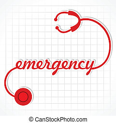 stéthoscope, faire, mot, urgence