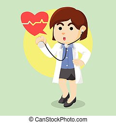 stéthoscope, femme, tenue, docteur