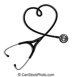 stéthoscope, formé, coeur