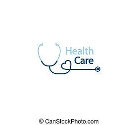 stéthoscope, forme, logo., santé, formulaire, phonendoscope, logotype, soin, heart., logo