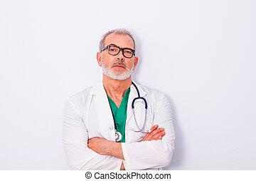 stéthoscope, isolé, travail, blanc, vêtements, fond, docteur