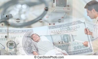 stéthoscope, lit, factures, animation, femme, sur, dollar, ...