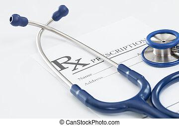 stéthoscope, monde médical, drogue prescription, table