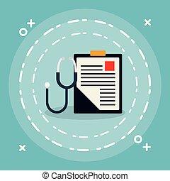 stéthoscope, monde médical, ordre, liste contrôle