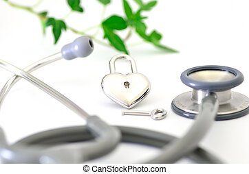 stéthoscope, padlock., forme coeur
