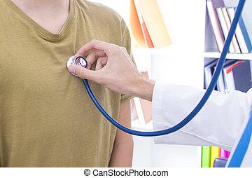 stéthoscope, patient, écoute, docteur