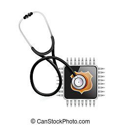 stéthoscope, puce, électronique, illustration