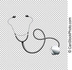 stéthoscope, transparent, fond