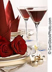 stół, ślub, róże