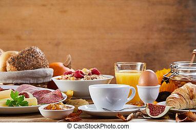 stół, śniadanie, prospekt, mąka, bok