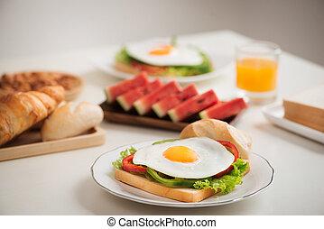 stół, śniadanie, swojski, zachwycający, świeży
