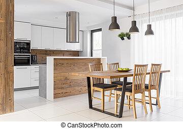 stół, biały, kuchnia