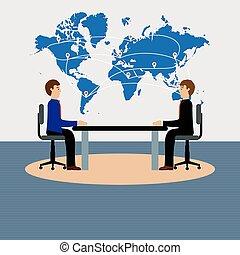 stół, businesspeople, posiedzenie