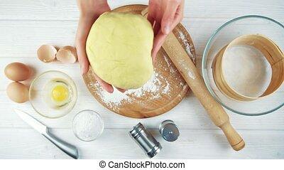 stół., drewniany, kneads, samica, kok, ciasto