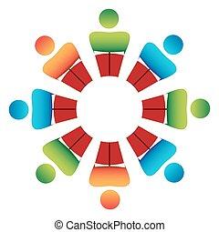 stół, dyskusja, okrągły