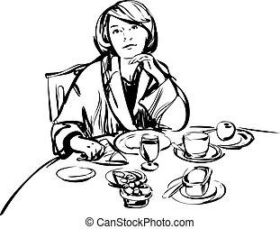 stół, dziewczyna, kąpielowy szlafrok, śniadanie