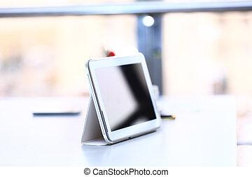 stół, ekran, biały, tabliczka, czysty