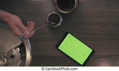 stół, ekran, zielony, tabliczka, kuchnia