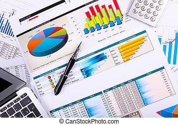 stół, finansowy, papiery