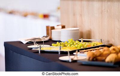 stół, handlowy przełamują, kawa, seminarium