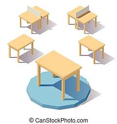 stół, isometric, wektor, niski, poly