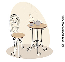 stół, kawiarnia, francuski
