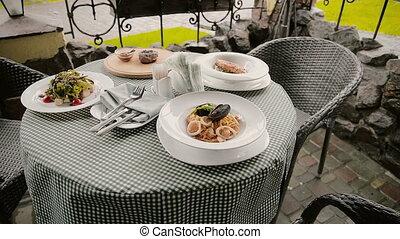 stół, kawiarnia, półmiski, ulica