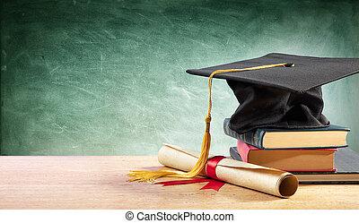 stół, korona, książki, dyplom, skala