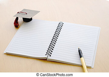 stół, korona, notatnik, skala, czysty