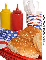 stół, lipiec 4, piknik, zmontowanie