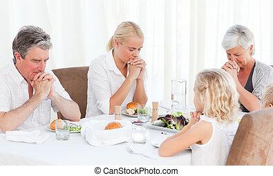 stół, modlący się, ładny, rodzina