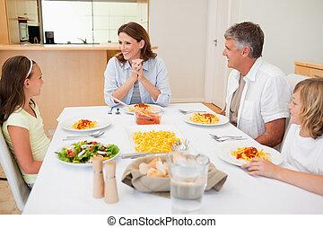stół, obiad, rodzina, posiedzenie