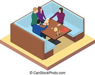 stół, piwo, napój, przyjaciele, bar.