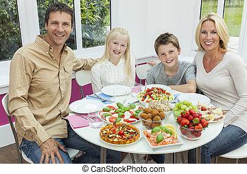 stół, rodzina, sałata, jedzenie, zdrowy, rodzice, dzieci