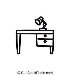 stół, rys, lampa, icon., biurko