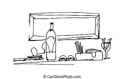 stół, rys, nieruchome życie, butelka