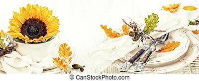 stół umieszczenie, ozdoba, dla, jesień, święto