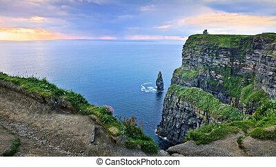 stóg, irlandia, moher, panoramiczny, zachód słońca, morze, urwiska, prospekt