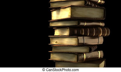 stóg książek, z, kanał alfy
