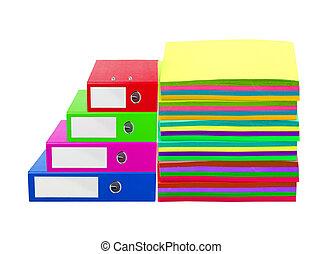stóg, od, biuro, falcownicy, i, farbować papier, odizolowany, na białym