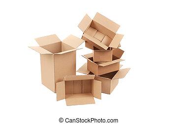 stóg, opróżniać, boxes.