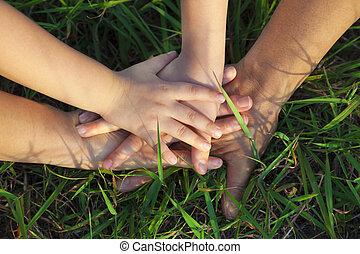 stóg, trawa, razem, rodzina, ręka