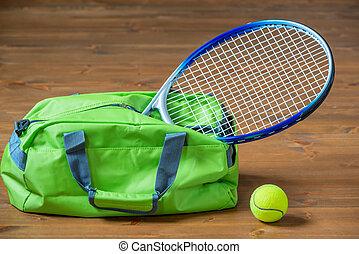 stöcke, Boden,  tennis, sport, Gegenstände, grün, schläger, Tasche, heraus