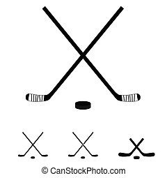 stöcke, satz, hockey, abbildung, ikone