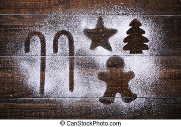 stöcke, stern, weihnachtsbaum, und, lebkuchen mann