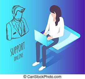 stöd, klient, direkt, arbetare, talande, helpdesk