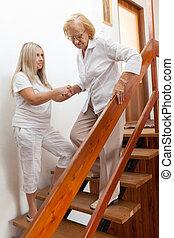 stöd, skaffande, hjälp, äldre