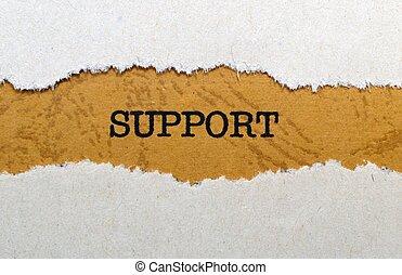 stöd, text, på, skrivmaskin