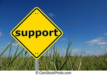 stöd, underteckna